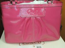 NEW Coach Patent Leather Pleated Gallery Tote Pink Purse Handbag Carryall