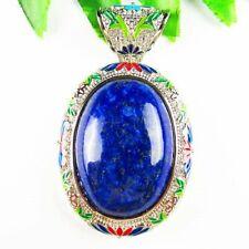 Lapis Lazuli Wrapped Tibetan Silver Oval Pendant Bead D66666