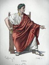 GRAVURE ANCIENNE 19e - COSTUME THEATRE - AUGUSTE - PIECE  PIERRE CORNEILLE CINNA