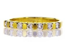 0.32CT G/SI1 Diamond Ring Entirely Band Natural Round Cut 14K Yellow Gold Size 6