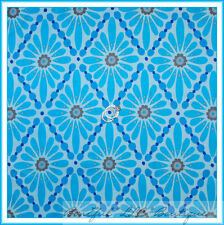 New listing BonEful Fabric Cotton Quilt Aqua Blue Bright Flower Diamond Dot Retro Girl Scrap