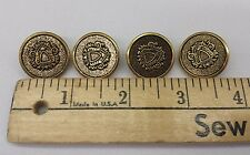 """Gold Metal Buttons w/Crest; Set of 10, 7/8"""""""