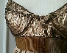 3K Proenza Schouler gold bronze beaded dress-y bustier babydoll top blouse S