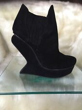 ALDO black genuine suede / leather ankle boots with sculptured heels , size 37