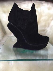 ALDO black genuine suede ankle boots, sculptured / irregular wedge heels size 37