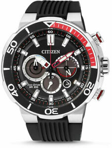 Citizen Mens 46mm S/Steel Chronograph Eco-Drive Date Divers 200m Watch Save $200