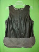 1149) BANANA REPUBLIC medium black gray pleather knit pullover sleeveless top M