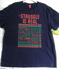 The Struggle is Real Christmas T-Shirt Men's Size XXL Blue Target NWT