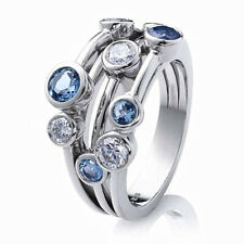 Elegant 925 Silver Rings Women Jewelry Blue Sapphire Wedding Ring Size 6-10