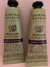 CRABTREE & EVELYN AVOCADO OLIVE & BASIL ENRICHING HAND THERAPY Lot x 2 NEW