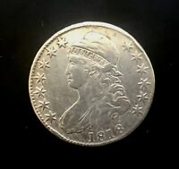 Rare 1818 USA Key Date Capped Bust Half Dollar 50 C Silver Coin US Draped Bust