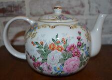 Andrea Sadek China Teapot floral roses garden flowers white goldVtg Japan