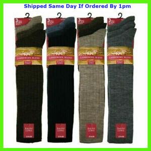 3 Mens Ribbed Fine Lambswool Blend Traditional Long Wool Dress Socks UK 6-11