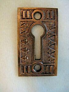Antique Victorian Eastlake Brass Key Hole Cover Plate Lock Key Escutcheon