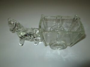 VINTAGE Clear Glass PONY DONKEY w/ CART PLANTER or CANDY DISH