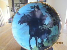 RED INDIAN HORSE PLATE - SPIRIT OF THE NIGHT - NATIVE AMERICAN - WOLF