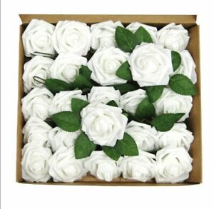 25-50 Pcs Foam Artificial Rose Heads Flowers W/Stem Wedding Bride Bouquet Decors