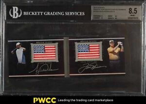 2014 UD Black Pride Of A Nation Jack Nicklaus Tiger Woods PATCH AUTO /10 BGS 8.5