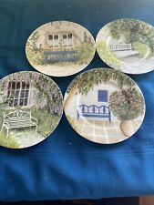 """8"""" Collector Plates Rochard Limoges France Benches Windows Flowers"""