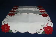 4 Holiday Poinsetta Placemats 4 Napkins 1 Runner Sam Hedaya Corp 2009 Polyester