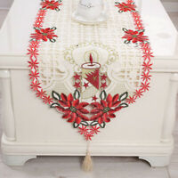 Embroiderd Christmas Table Runner Table Cover Home Xmas Party Table Decor15x69in