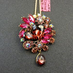 Rose Pink Rhinestone Flower Betsey Johnson Pendant Sweater Necklace/Brooch