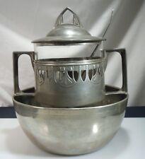 Jugendstil Art Nouveau Arts & Crafts Pewter and Glass Punch Bowl, Ladle