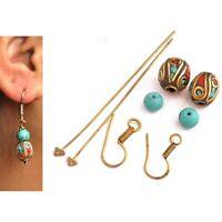 Coral Turquoise Brass Earring Kit Nepalese Tibetan Handmade Nepal DIYA15