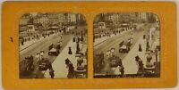 Francia Parigi Pont Nuovo Istantanea c1870 Foto Stereo Diorama Vintage Albumina