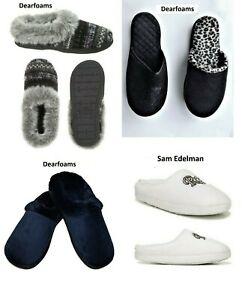 Ladies Bedroom Slippers Dearfoams Open Heel 9.5/10.5- Clog or Sam Edelman 11/12M