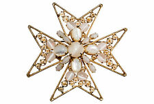 Schreiner Mother of Pearl Cabochon Maltese Cross Brooch Pin Inverted Rhinestones