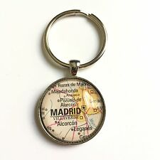MADRID SPAIN ALCORCON LEGANES EUROPE Map Key Ring Keychain Silver vntg ATLAS