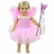 9db9fc6a01a1 Pink Fairy Doll Dress Angel Wing Magic Wand Outfit Clothes For 18 inch Girl  Doll