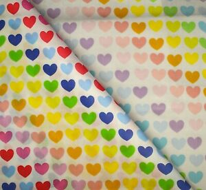 Poly cotton Polycotton Fabric Rainbow Hearts Bright Pastel 112cm wide per metre
