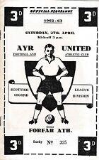 AYR UNITED V FORFAR ATHLETIC 27 APRIL 1963