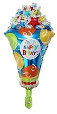 "Happy Birthday party popper popcorn foil balloon 49cm x 27.5cm    19"" x 11"""