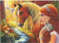 ACEO CHESTNUT HORSE RED SQUIRREL OWL GRAY BUNNY GORGEOUS REDHEAD GIRL ART PRINT