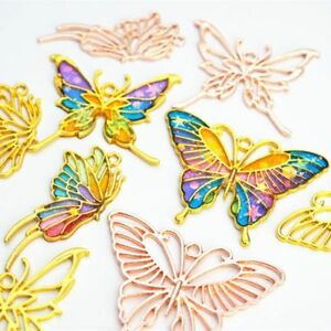 3Pcs Gold Butterfly Metal Frame Pendant Open Bezel Setting UV Resin Jewelry DIY