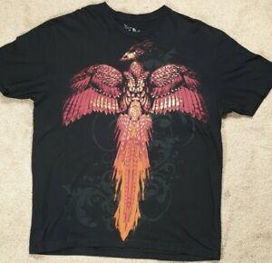 Official HARRY POTTER Warner Studio Gold Foil Black T-Shirt Fawkes Phoenix XL