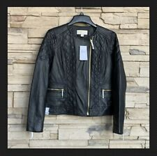 MICHAEL KORS Moto Jacket Leather SOFT Lambskin Size Large Quilted Ret $495 NWT!
