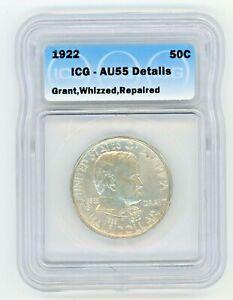 1922 Grant Silver Half Dollar ICG AU55 DETAILS