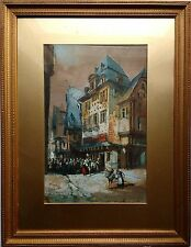 "CHARLES DUPUIS, 1860 ANTIQUE WATERCOLOUR PAINTING, ""A CONTINENTAL STREET SCENE""."