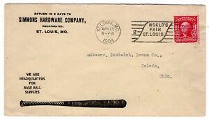 Simmons Hardware St Louis MO - Baseball Supplies Illustrated Bat World's Fair