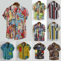 Men Breathable Printing Loose Turn Down Collar Short Sleeve Vintage Casual Shirt