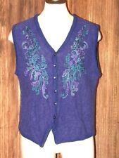 Vintage Koret Women's Wool Blend Vest Size Small Purple Button-Up Vest