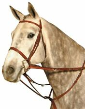 Kincade German Martingale Leather Rein Set to Train Horse Headset - Brown