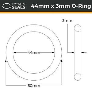 44x3 Nitrile (NBR) O-rings - 44mm Inner Diameter x 3mm Cross Section (50mm OD)