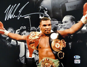 MIKE TYSON AUTOGRAPHED SIGNED 11X14 PHOTO WITH BELTS SPOTLIGHT BECKETT 180903