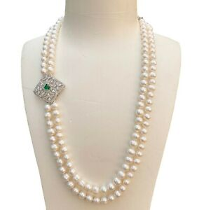 Baroque Freshwater 7-8mm White pearl Two strand necklace 55+57cm AB Good Luster