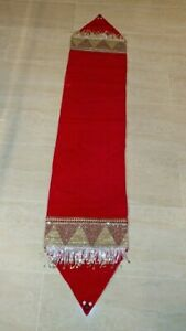 Red Velvet with Crystals 72in long Table runner